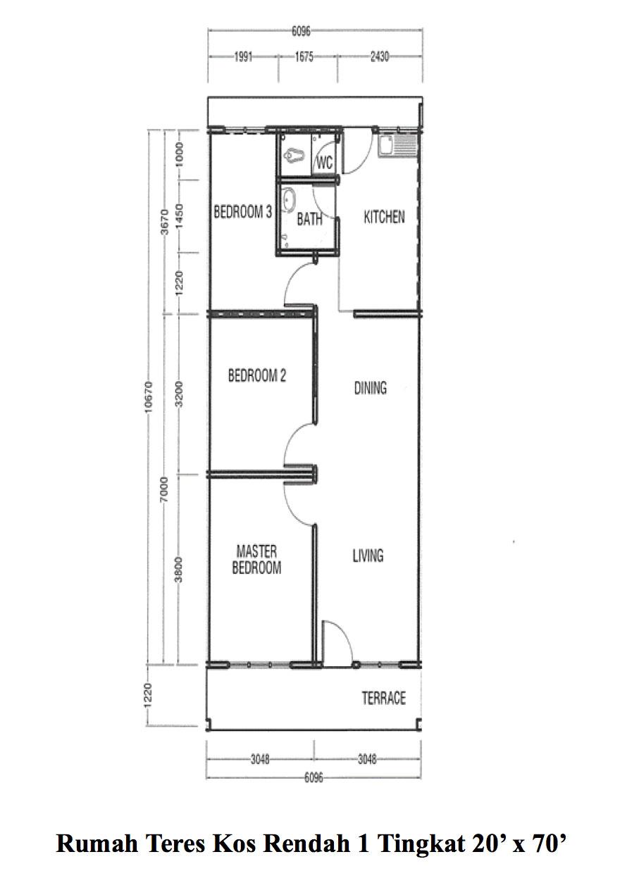 Rumah Teres 1 Tingkat Kos Rendah 20 X 70